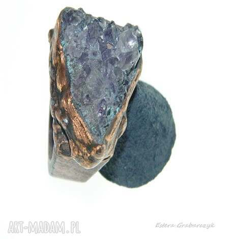 pierścionek z ametystem rozmiar 17, fioletowy pierścionek, unikatowa biżuteria