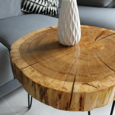 stolik kawowy plaster drewna dębu - loft design, meble, stolik z drewna