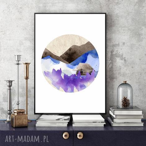 wiosną w górach ilustracja a4, krokusy, góry, wiosna, akwarela, grafika