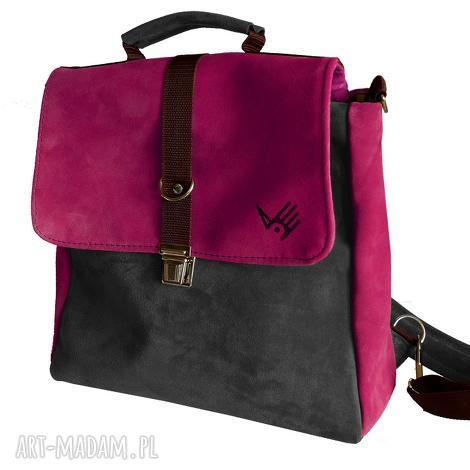 plecak/teczka różowo-szara, różowa, zamsz, skóra, szara, oldschool, teczka