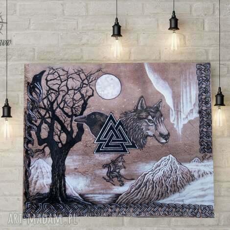 obraz na skórze - mitologia nordycka, obraz, skóra, wikingowie, mitologia, wilk
