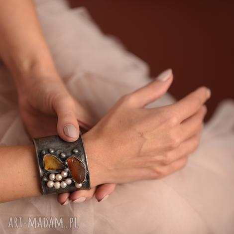 bransoletka z bursztynem i perłami naturalnymi, bursztyn, naturalny, miedziana