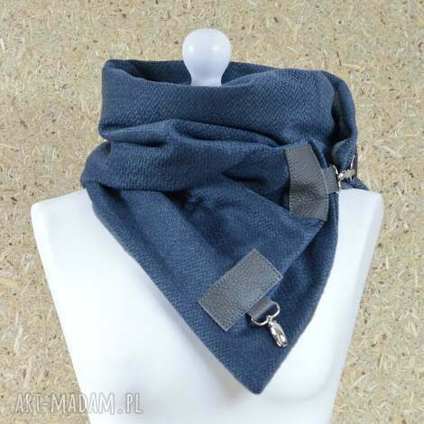 szal przygaszony niebieski z szarą skórą - szal, szalik, gołębi