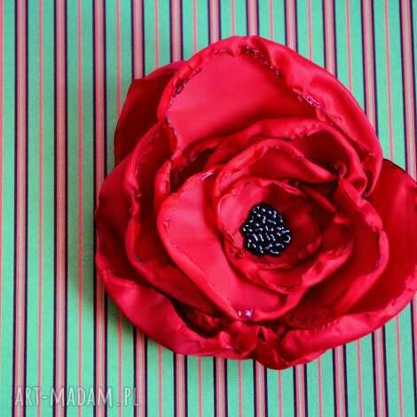 broszka - makowa główka - mak, kwiat, broszka, czerwień, hiszpania