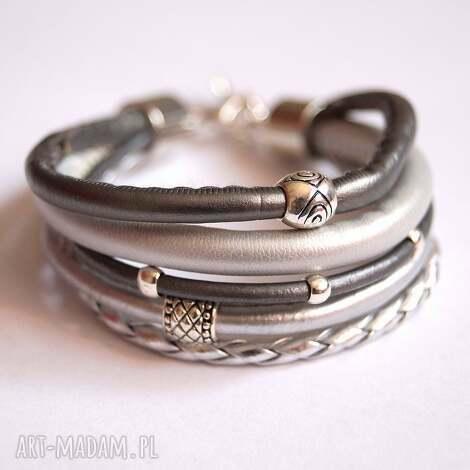 bransoleta fifty shades of silver, rzemienie, zaweszki bransoletki biżuteria