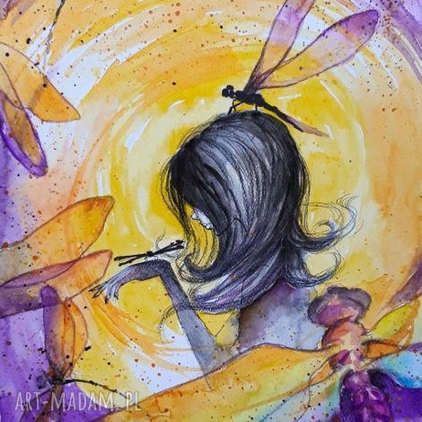 kobieta wiatr akwarela artystki adriany laube - obraz na papierze a3