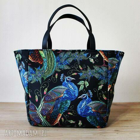 shopper bag - pawie, elegancka, nowoczesna, pakowna, prezent, święta