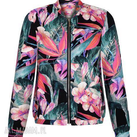 bluzy przepiękna bomberka damska w egzotyczne kwiaty, bluza na prezent