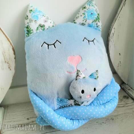 maskotki poduszka dziecięca kot z dzieckiem, kot, przytulanka
