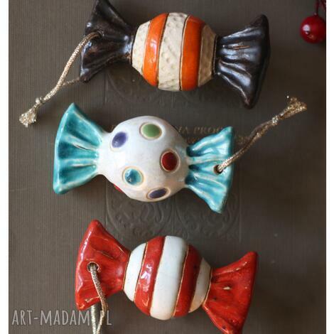 dekoracje zestaw cukierków iv, ceramika, cukierki, choinka, święta