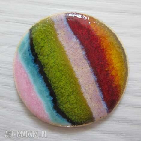 energetyczna broszka - tęczowa broszka, ceramiczna, kolorowa