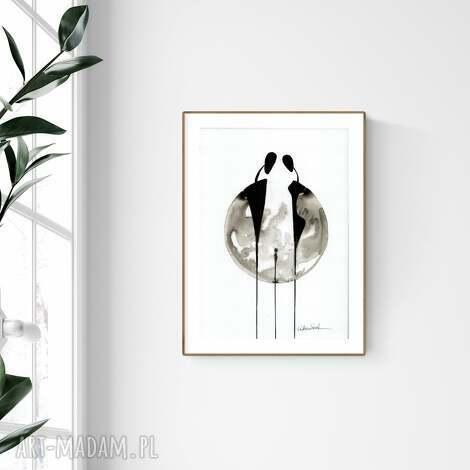 grafika a4 malowana ręcznie, minimalizm, abstrakcja czarno-biała,, obaraz