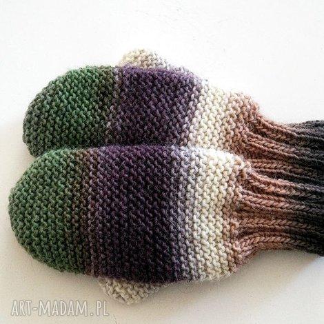 wełniane rękawiczki - rękawiczki, mitenki, na drutach, dziergane, wełniane