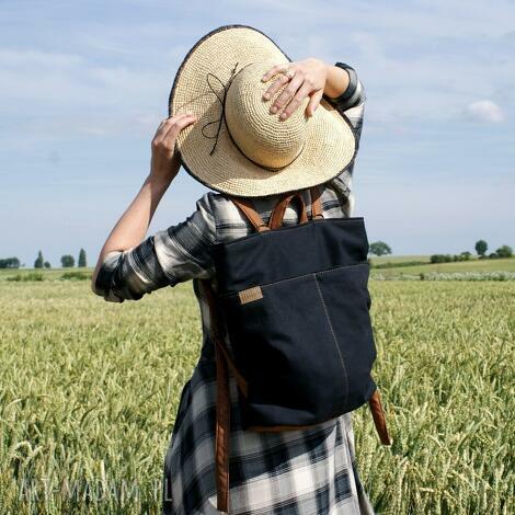 rowelove pocket czerń drelich, plecak, lato, torebka, vegan, płótno, podróż