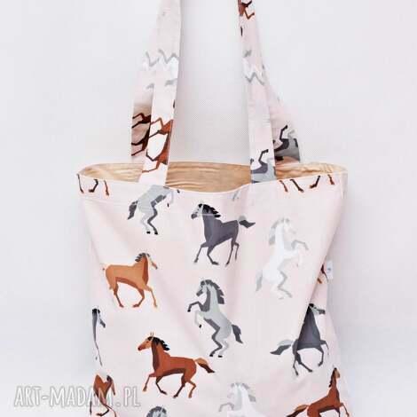 torba na zakupy shopperka ekologiczna zakupowa ramię bawełniana konie