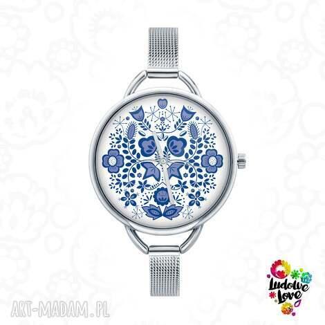 ludowelove zegarek z grafiką modry, folk, kujawy, kujawskie, etniczne, ludowe