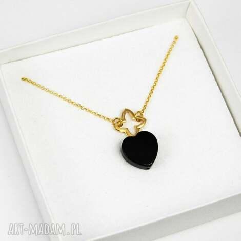 naszyjnik koniczyna serce onyks srebro 925 pozŁacane - naszyjnik, serce, koniczyna