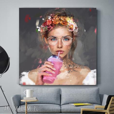dekoracje autorski obraz na płótnie lady smoothies, obraz, obrazy, plakaty, dom
