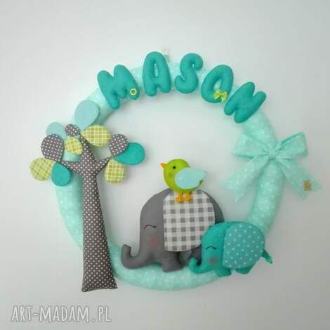 personalizowana girlanda słoniki - girlanda, dziecko, pokoik, filc, prezent