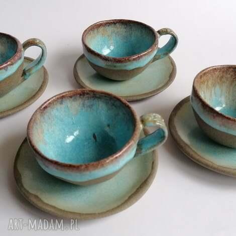 komplet do espresso dla czworga, ceramika rękodzieło, kawowy czworg