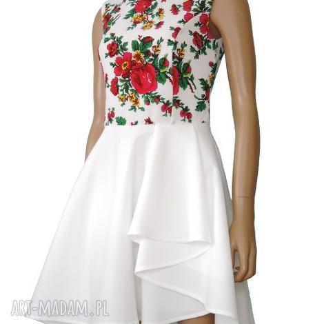 sukienki biała sukienka z falbaną- motyw bukowiański folk, sukienka, folkowa