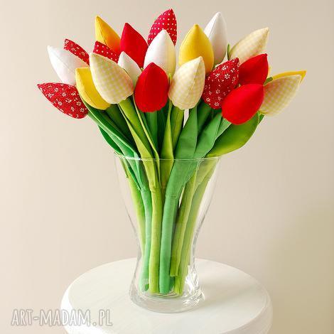 dekoracje bukiet bawełnianych tulipanów, tulipany, bawełniane, kwiatki, kwiaty, szyte
