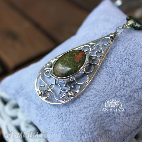 unakit w supełkach - boho, orientalny, srebro, unakit, jadeit, supełkowany