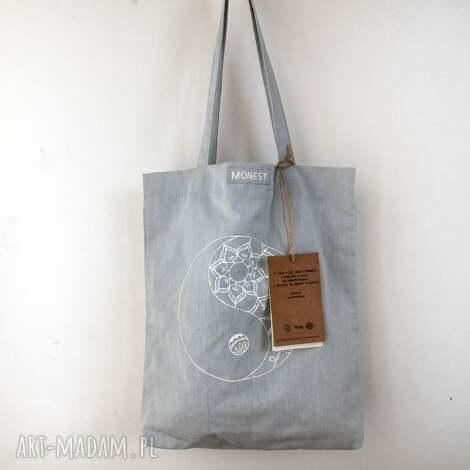 lniana eko torba z ręcznie malowanym wzorem, lniana, kobieta, wygodna, wiosna, jasna