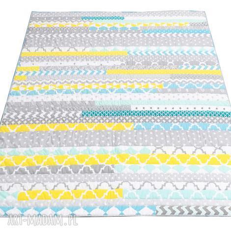 koce i narzuty narzuta patchwork stripes - grey and mint 158x195cm