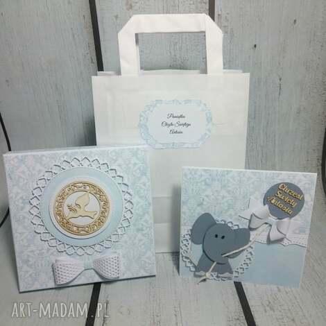 elegancki zestaw - pamiątka ze słonikiem dla maluszka/, pudełko, balon, kokarda