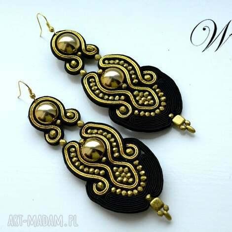 wdart kolczyki sutasz złoto czarne, sutasz, kolczyki, eleganckie, modne, długie