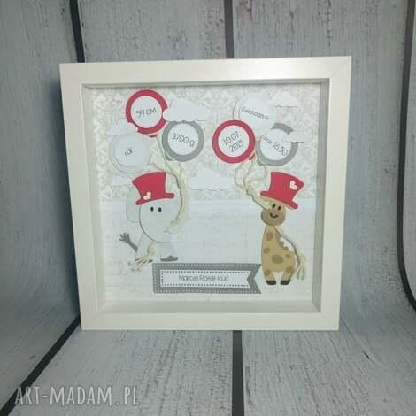 metryczka słonikowo-żyrafkowa - narodziny, urodziny, chrzest, prezent, dziecko