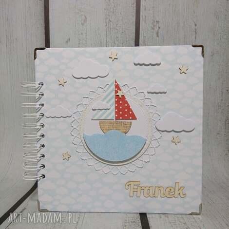 scrapbooking albumy ahoy marynarzu, łódka, marynarz, chrzest, narodziny