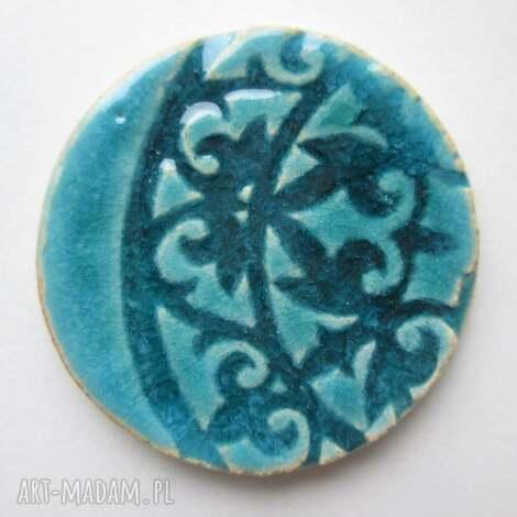 majestatyczna - ceramiczna, broszka, turkusowa, wzorzysta