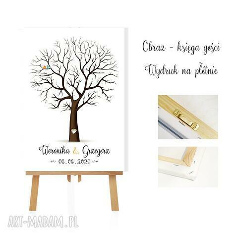 księgi gości obraz księga 40x60 cm 3 tusze do odcisków, drzewko szczęścia