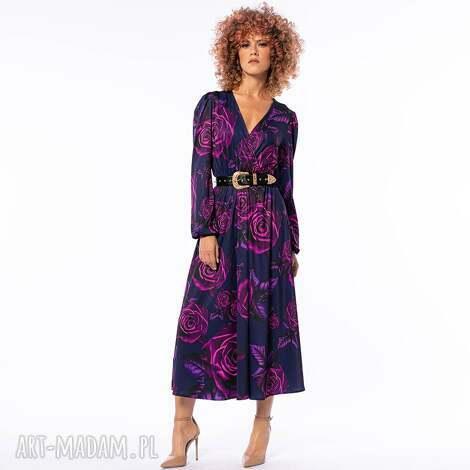 sukienki katarzyna magic rose - sukienka w kwiaty, efektowna, koktajlowa