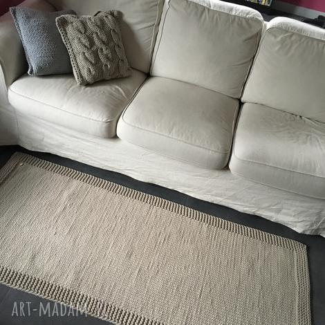 dywan ze sznurka baweŁnianego beŻowy 70x170 cm - dywan, chodnik, sznurek