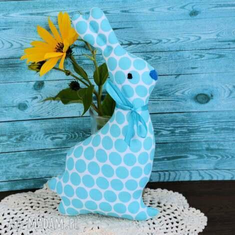 Maly Koziolek: mały zajączek turkusek - królik zabawka, przytulanka wielkanoc, urodziny