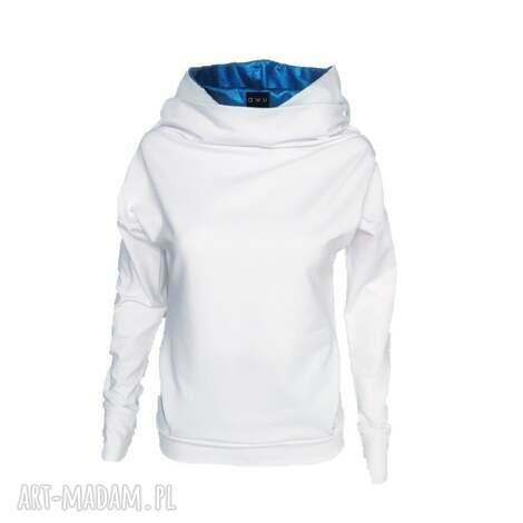 fabubu by awu bluza z dzianiny wykończona metalicznym błękitem, bluzazkominem