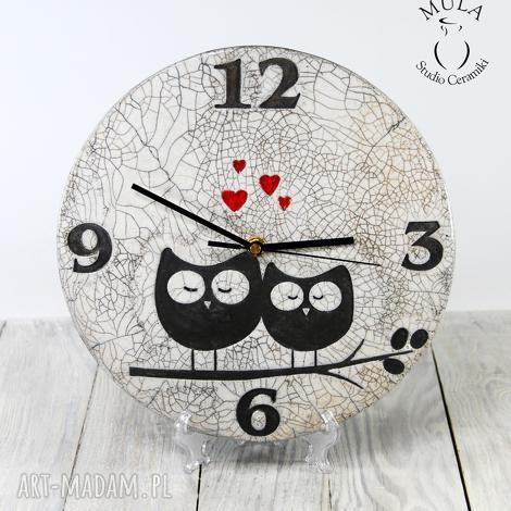 zegar sówki raku, technika zegar, ptaszki, ceramika, biały