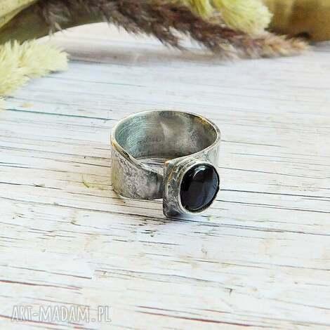 onyks - pierścionek, onyks, miedź, cyna, czarny pierścionki, prezent na święta