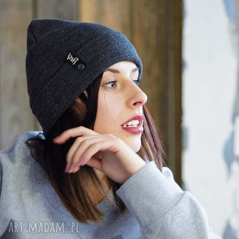 czapka zimowa unisex szara - beanie, zimowa, czapka, czapki, ciepla