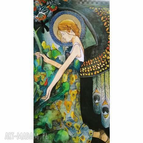 obraz anioł w ogrodzie, anioł, akwarela, ogrodzie