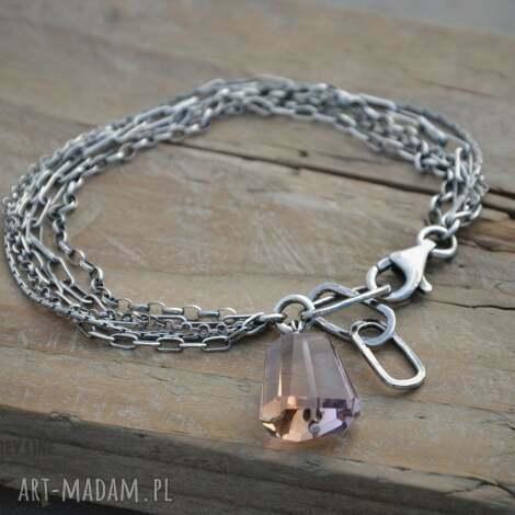 Łańcuszki z ametrynem - srebro, łańcuszki, zawieszka, minerały