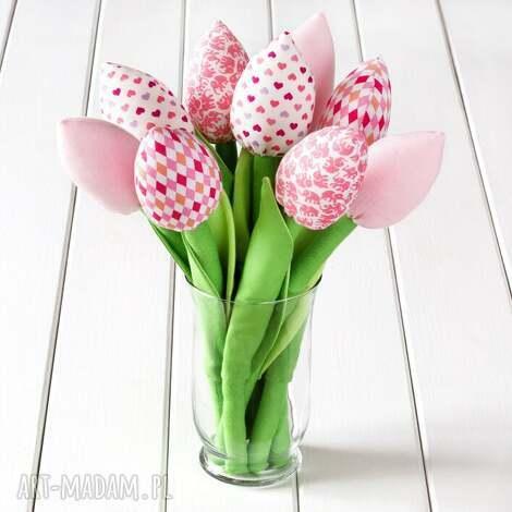 tulipany jasno różowy bawełniany bukiet - ozdoba, dekoracja, tulipany, kwiaty