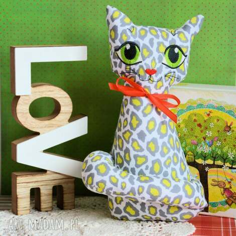 kotek torebkowy - gepard - 25 cm (maskotka zabawka, przytulanka, haftowana)