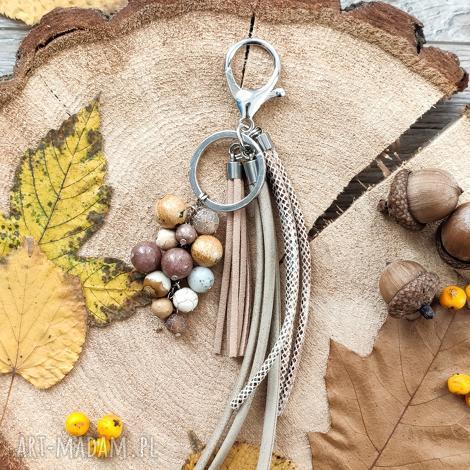 brelok z kamieniami naturalnymi - autumn forest ii, zawieszka, dotorebki, naprezent