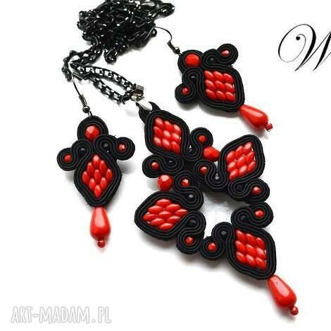 komplet sutasz czarno czerwony, sutasz, komplet, elegancki, modny