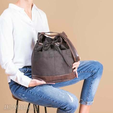 na zakupy yocca - torba worek khaki i brąz, worek, modna, wyjątkowa, trendy