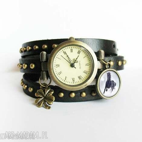 bransoletka, zegarek - czarny koń - czarny, nity, skórzany - zegarek, bransoletka